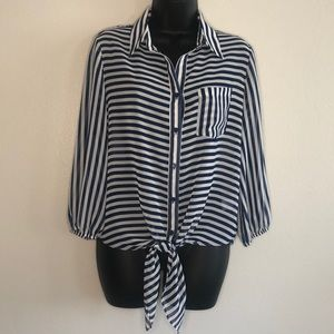 Pleione Striped Blouse with Tie